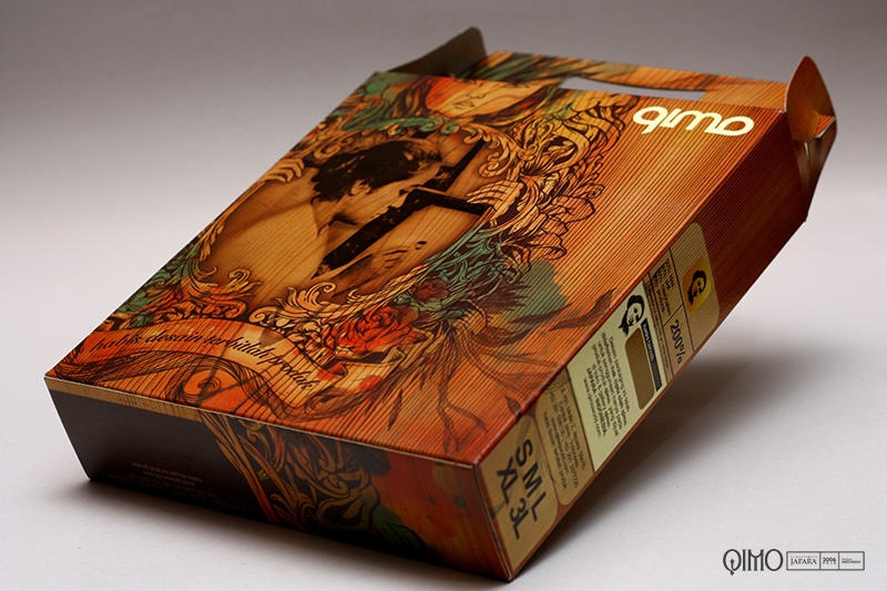 Desain packaging kaos qimo Jepara Indonesia